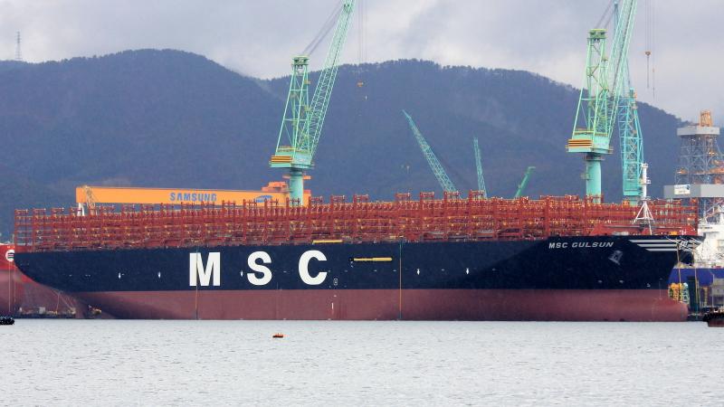 Con tàu container lớn nhất thế giới MSC Gulsun đã khởi hành chuyến đi đầu tiên ngày 08/07/2019